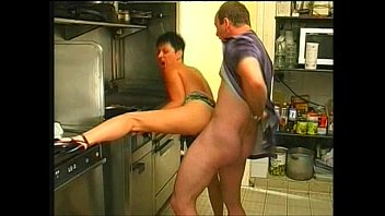 Sex with wife in the kitchen and creampie after solo. KleoModel